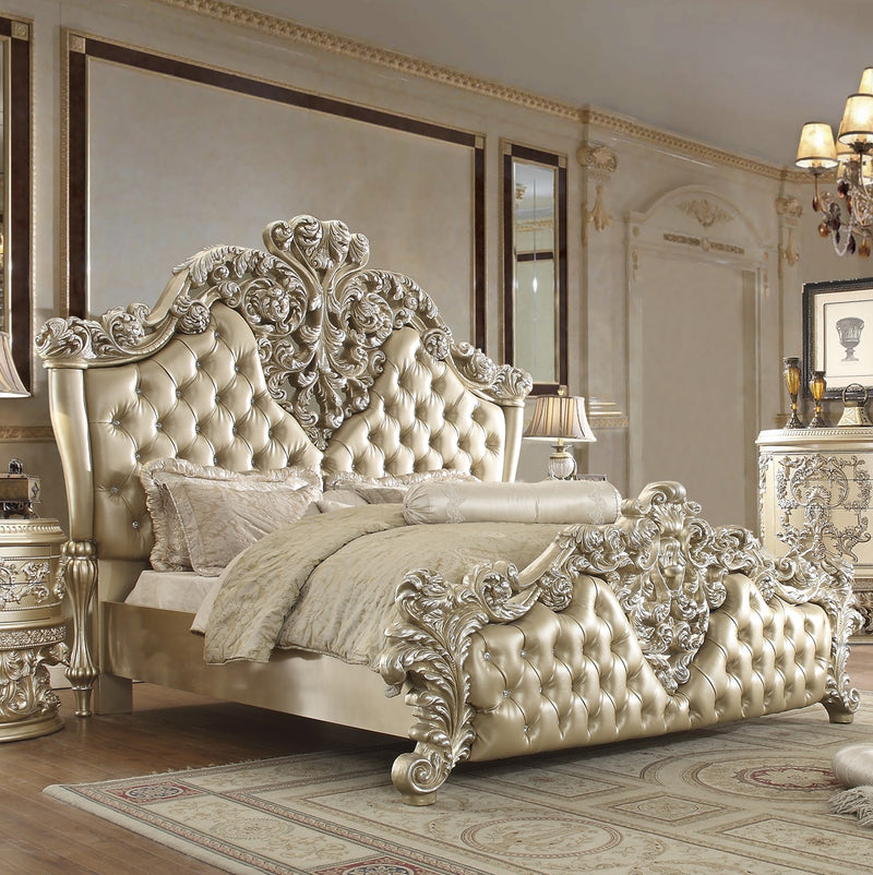 Leather Cal King Bed in Belle Silver Finish CK8022 European Traditional Victorian