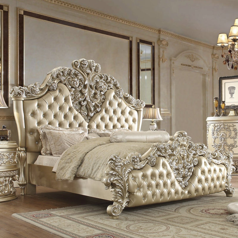 Leather Eastern King Bed in Belle Silver Finish EK8022 European Traditional Victorian