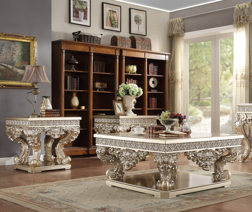 3 PC Coffee Table Set in Belle Silver Finish 8022-CTSET3 European Victorian