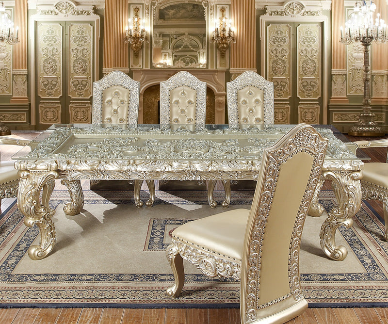 Dining Table in Belle Silver Finish D8022 European Traditional Victorian