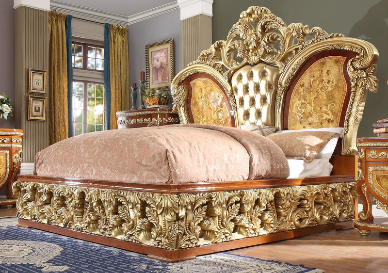 Leather Eastern King Bed in Metallic Golden Tan Finish EK8024 European Victorian