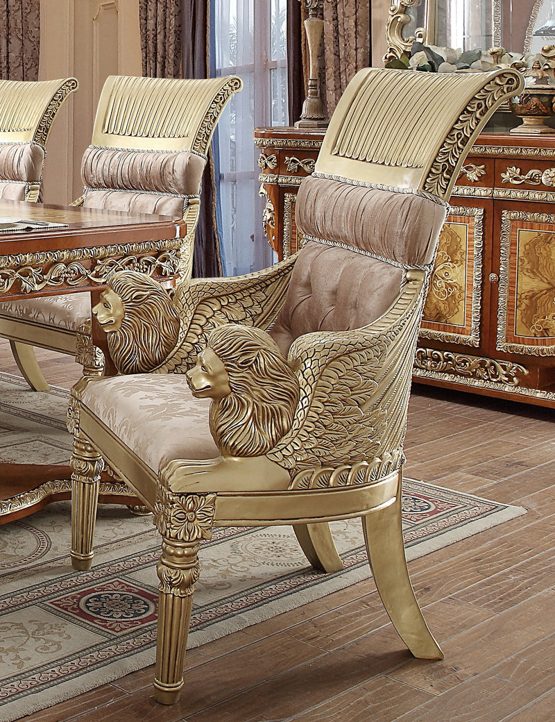 Fabric Arm Chair in Metallic Golden Tan Finish CH8024 European Traditional Victorian