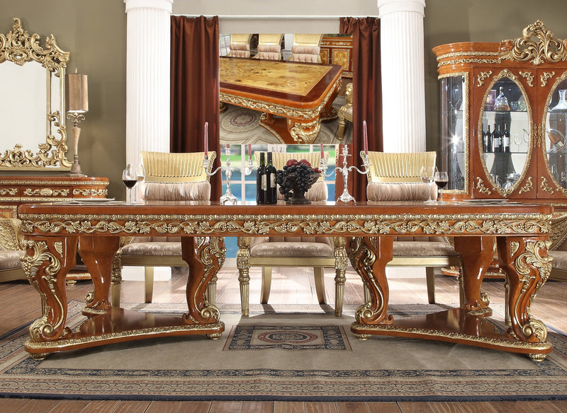 Dining Table in Metallic Golden Tan Finish DT8024 European Traditional Victorian