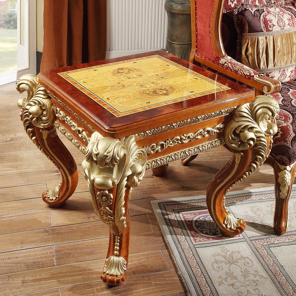 End Table in Metallic Golden Tan Finish E8024 European Traditional Victorian
