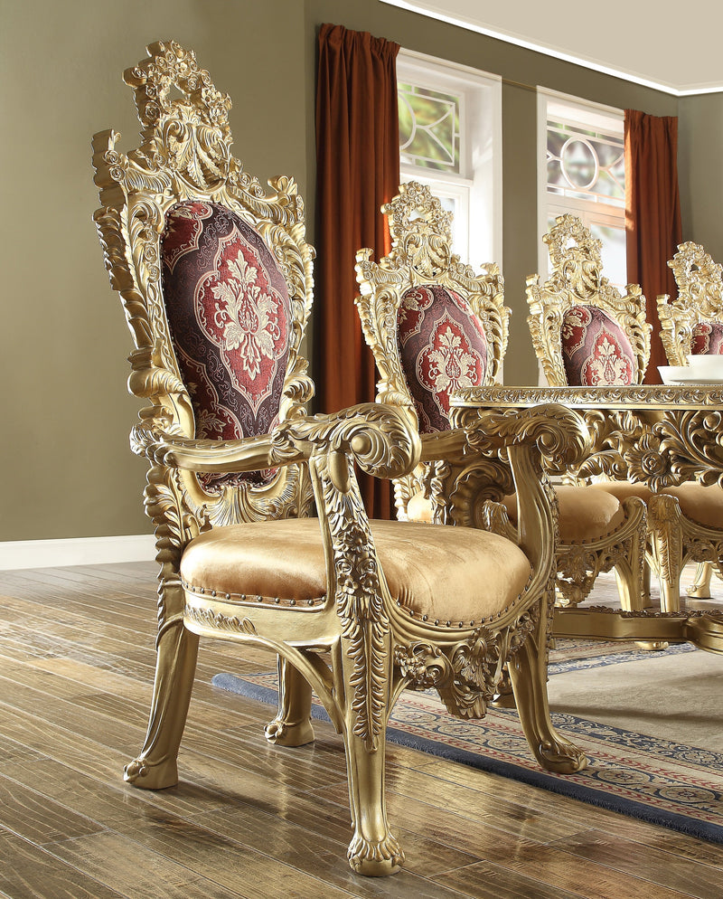 9 PC Dining Table Set in Metallic Bright Gold Finish 8086-DTSET9 European Victorian