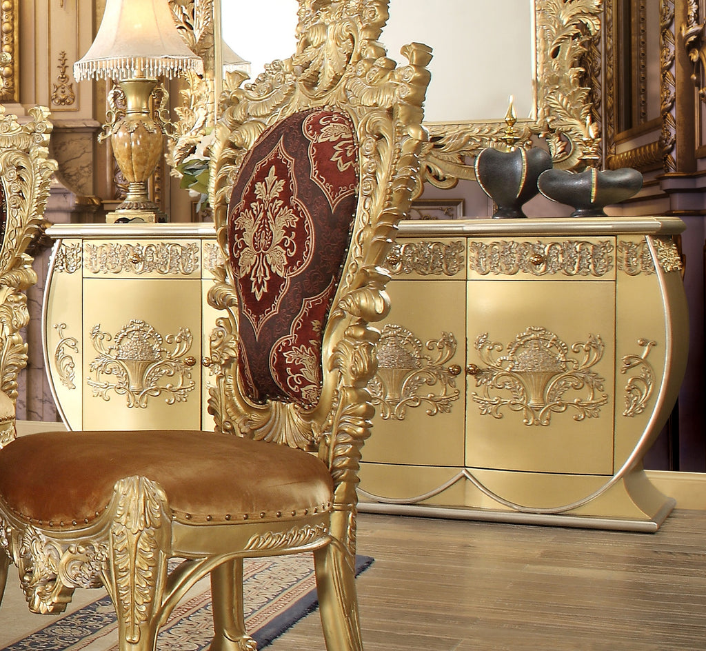 Dining Buffet in Metallic Bright Gold Finish BF8086 European Traditional Victorian