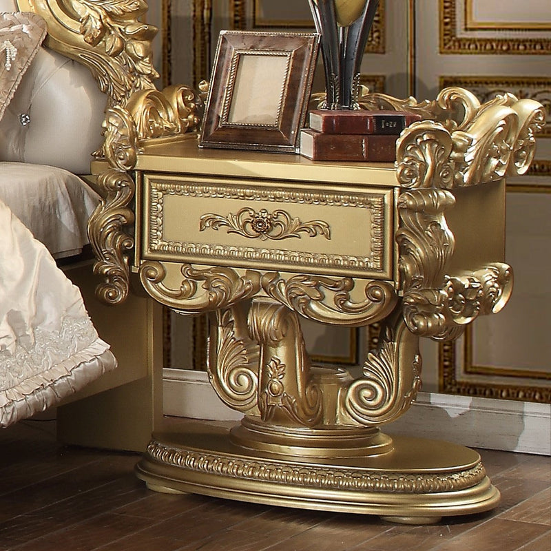 Night Stand in Metallic Bright Gold Finish N8086 European Traditional Victorian