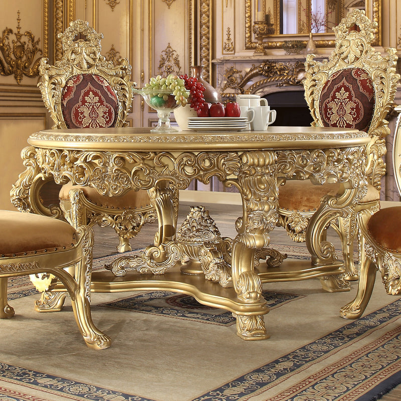 Round Dining Table in Metallic Bright Gold Finish DT8086-R European Victorian