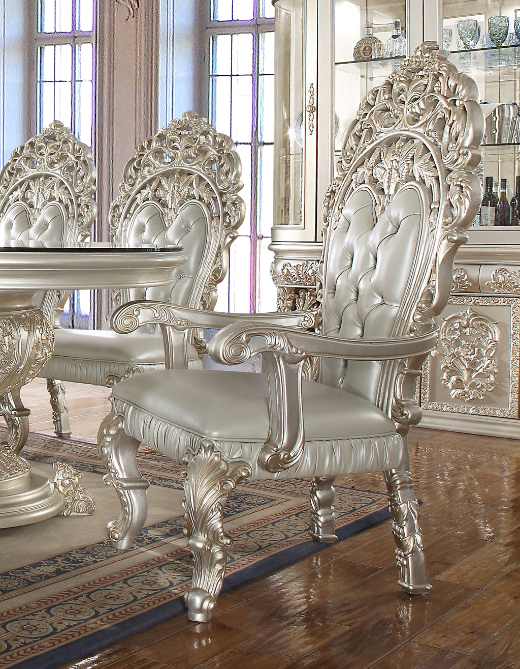 Leather Arm Chair in Metallic Silver Finish AC8088 European Traditional Victorian