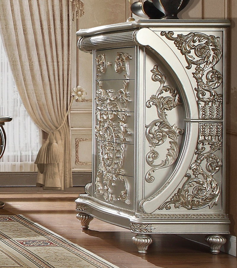 Chest in Metallic Silver Finish CHE8088 European Traditional Victorian