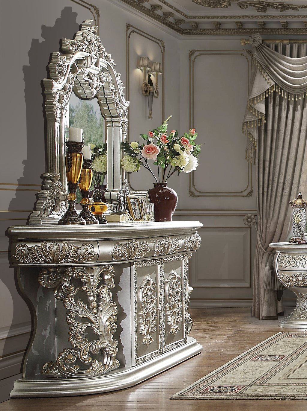 Dresser in Metallic Silver Finish DR8088 European Traditional Victorian