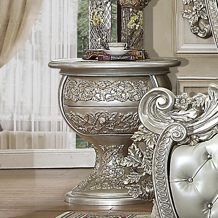 Night Stand in Metallic Silver Finish N8088 European Traditional Victorian