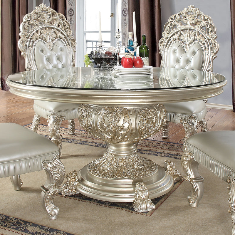 Round Dining Table in Metallic Silver Finish RD8088 European Traditional Victorian