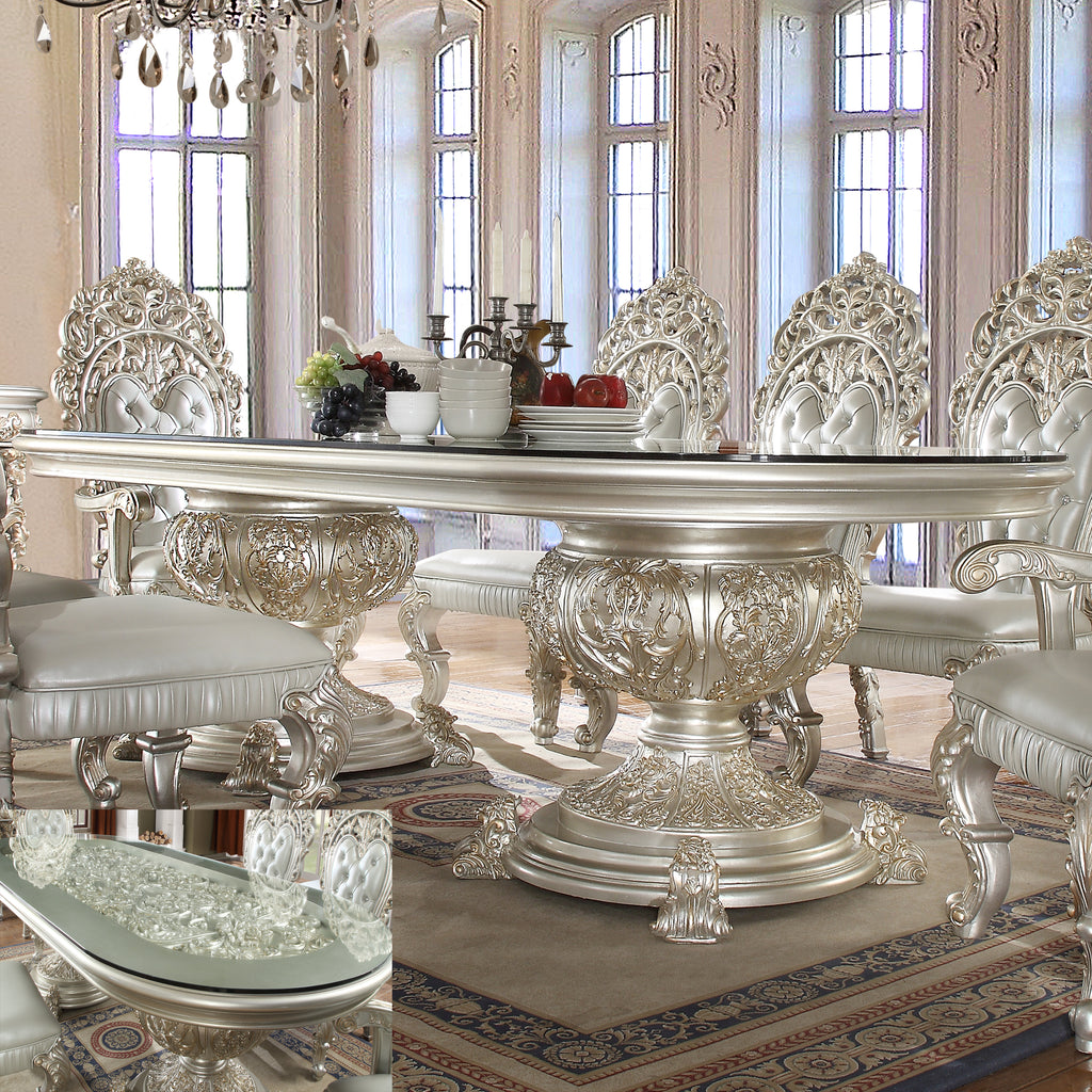 Dining Table in Metallic Silver Finish DT8088 European Traditional Victorian