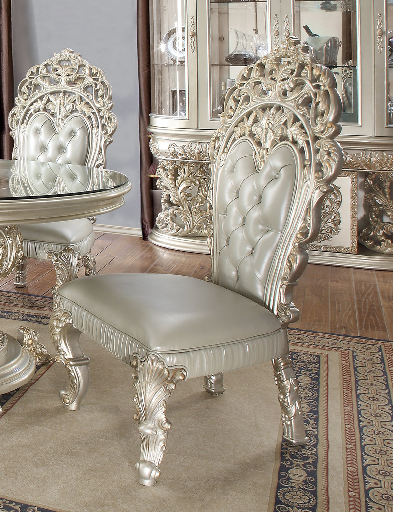 Leather Side Chair in Metallic Silver Finish SC8088 European Traditional Victorian