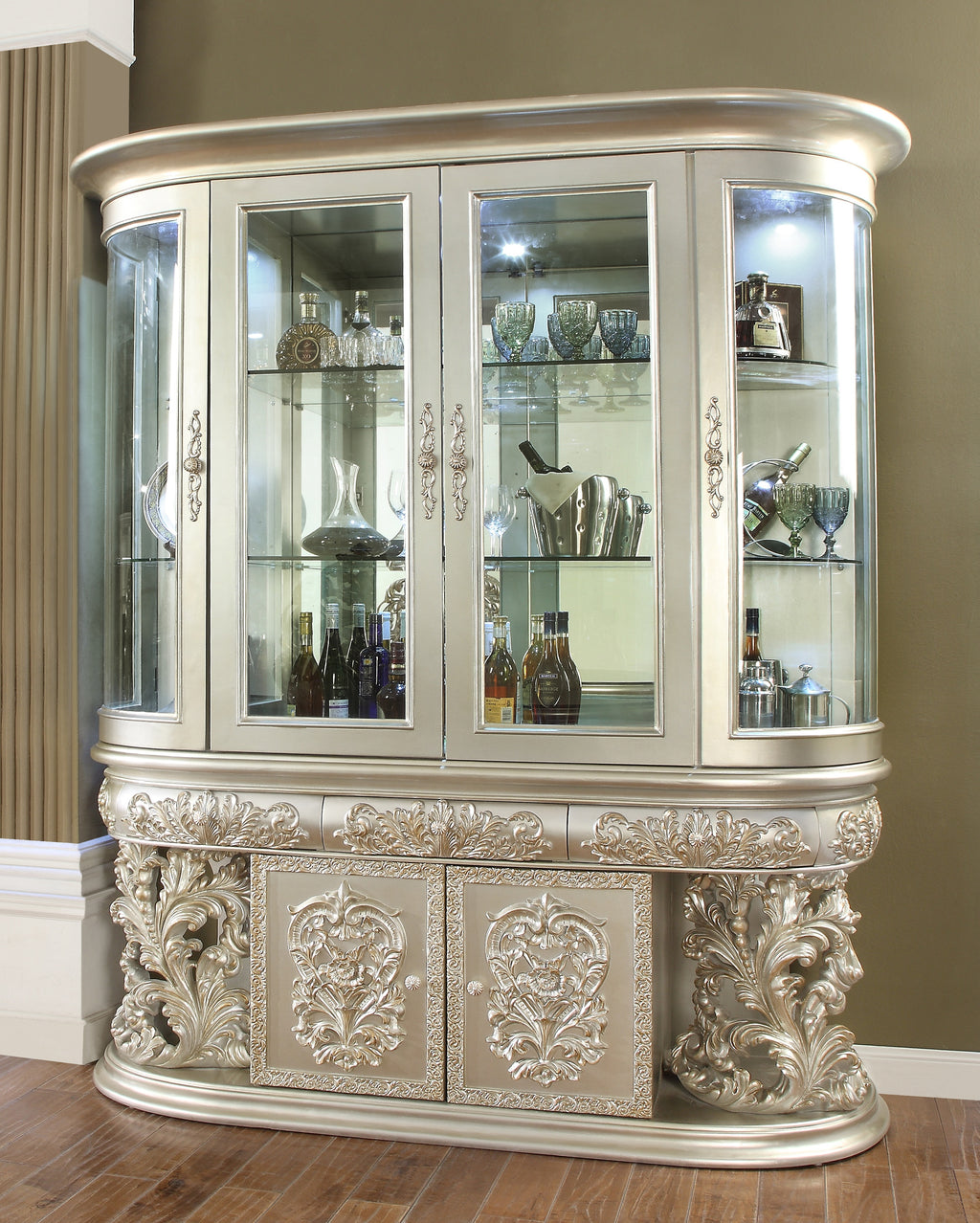 China Cabinet in Metallic Silver Finish CH8088 European Traditional Victorian