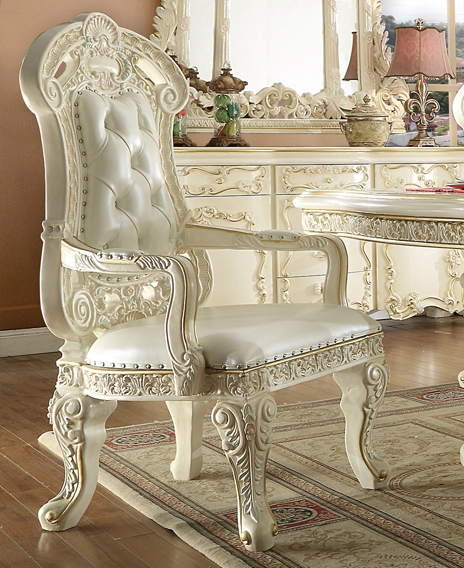 Leather Arm Chair in White Gloss Finish AC8089 European Traditional Victorian