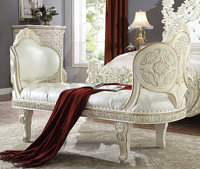 Leather Bed Bench in White Gloss Finish BEN8089 European Traditional Victorian