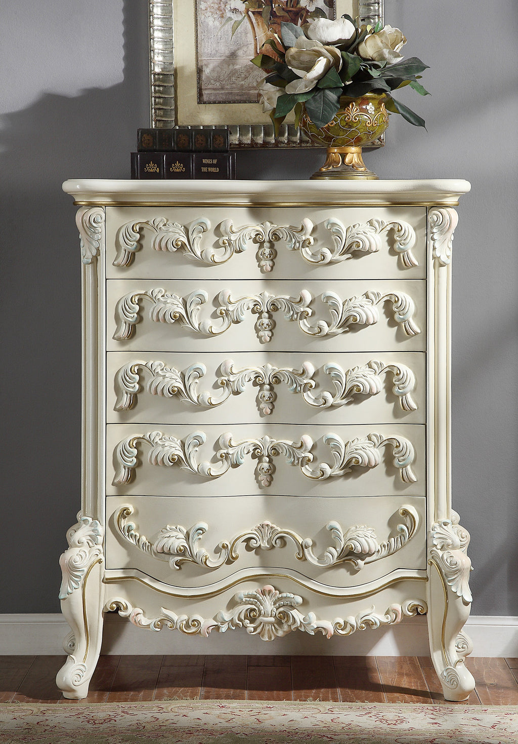 Chest in White Gloss Finish CHE8089 European Traditional Victorian