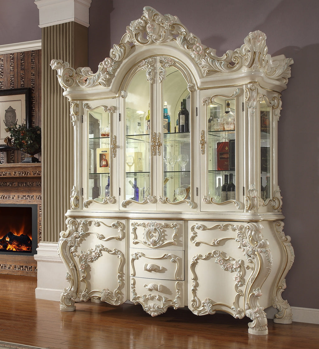 China Cabinet in White Gloss Finish CH8089 European Traditional Victorian