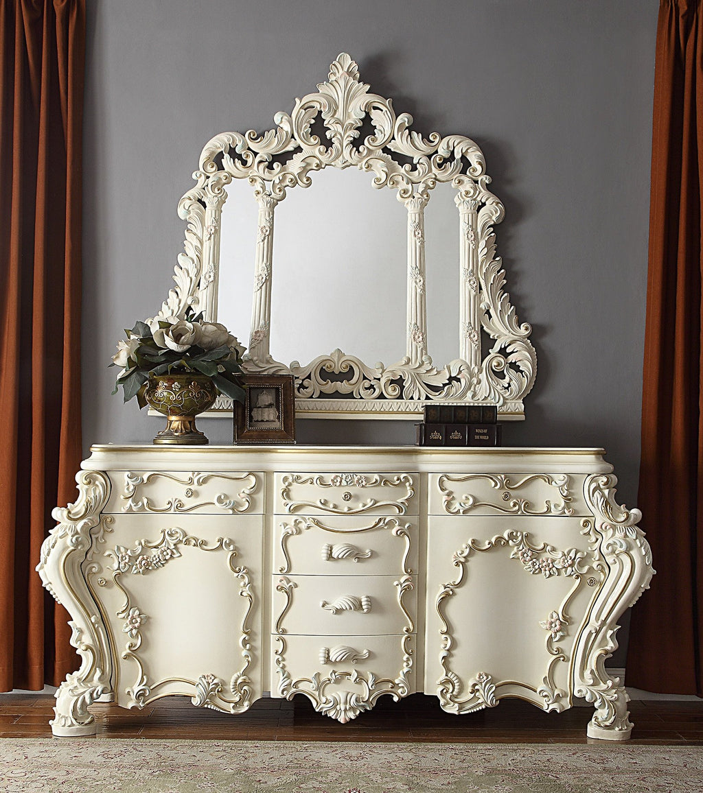 Dresser in White Gloss Finish DR8089 European Traditional Victorian
