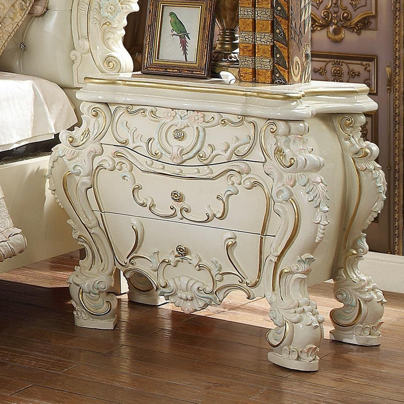 Night Stand in White Gloss Finish N8089 European Traditional Victorian