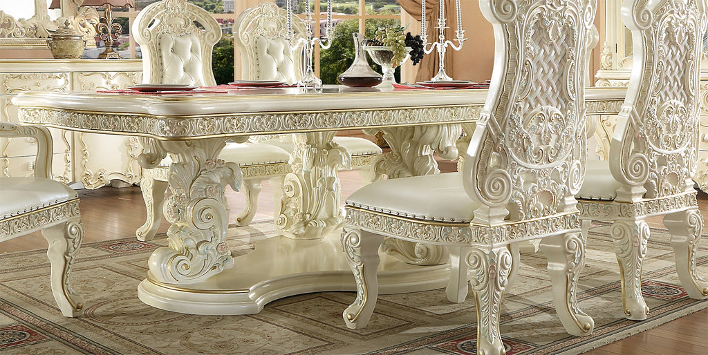 Dining Table in White Gloss Finish DT8089 European Traditional Victorian