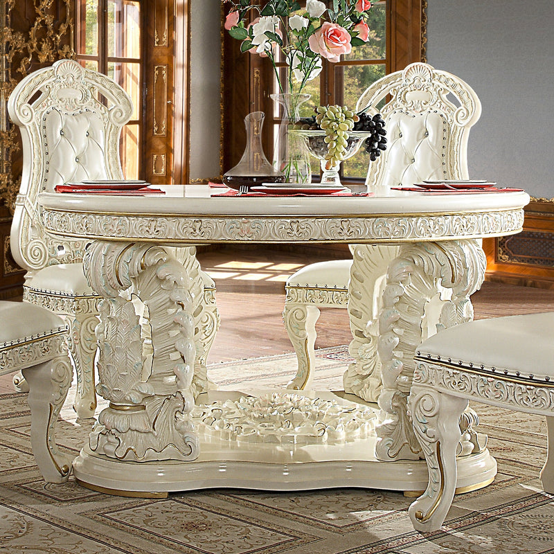 Round Dining Table in White Gloss Finish DT8089R European Traditional Victorian
