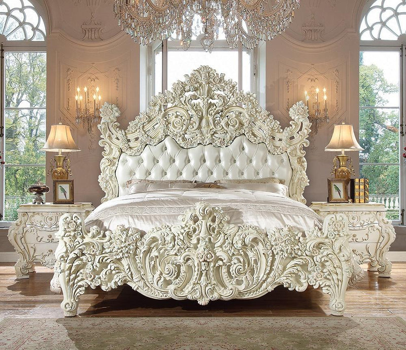 Leather Cal King Bed in White Gloss Finish CK8089 European Traditional Victorian