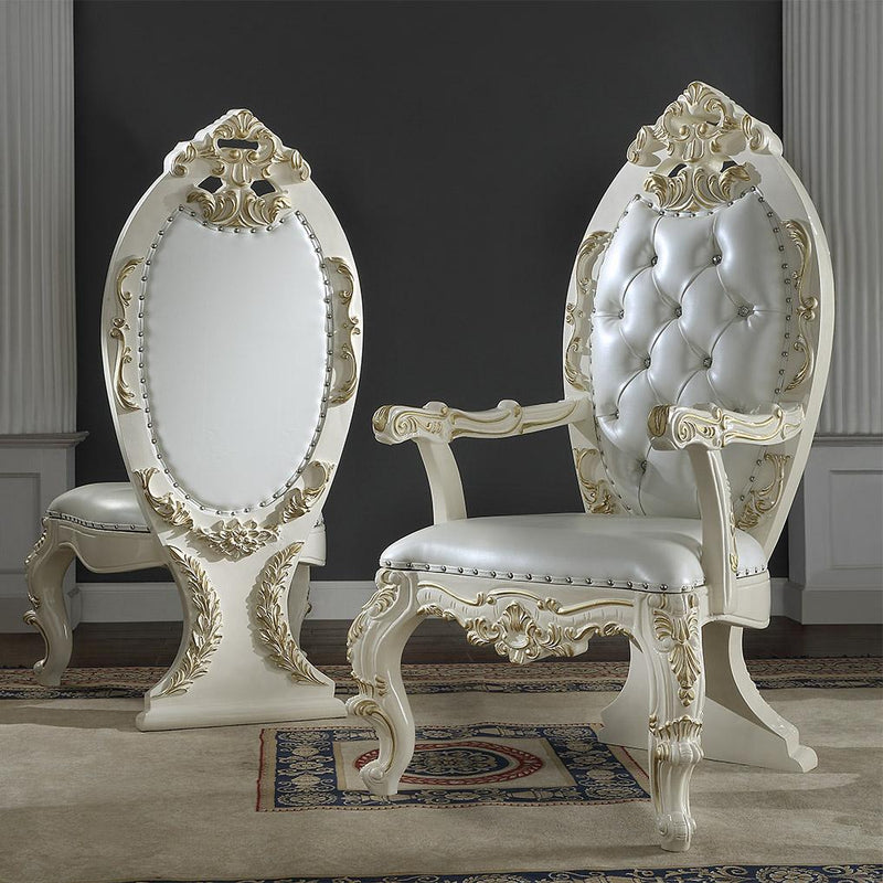 Leather Arm Chair in White Gloss & Gold Brush Finish AC8091 European Victorian