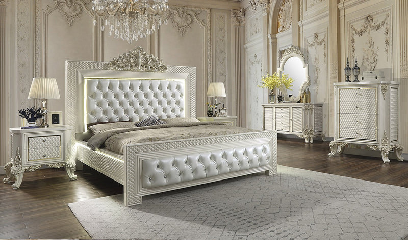 Leather Eastern King Bed in White Gloss & Gold Brush Finish EK8091 European