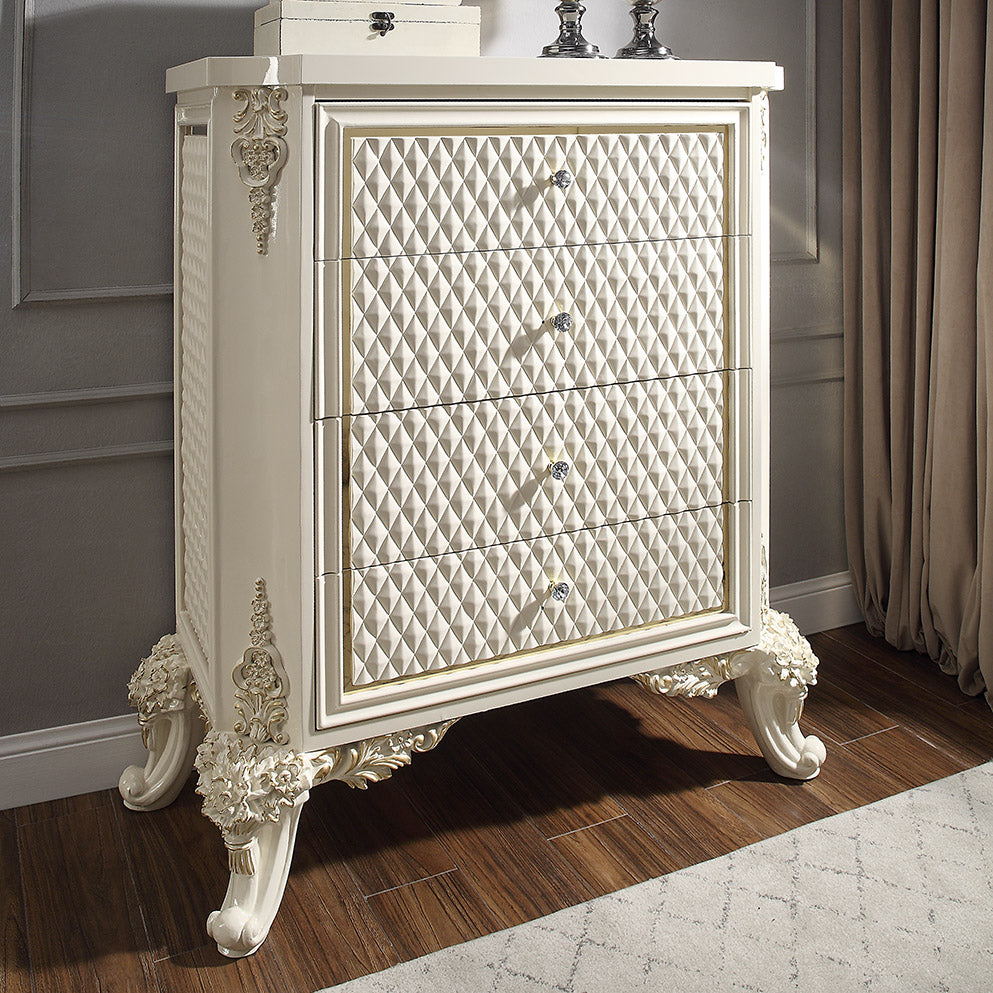 Chest in White Gloss & Gold Brush Finish CHE8091 European Traditional Victorian
