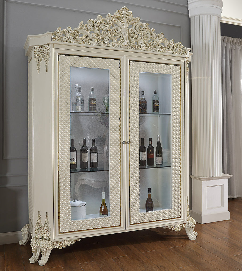 China Cabinet in White Gloss & Gold Brush Finish CH8091 European Victorian