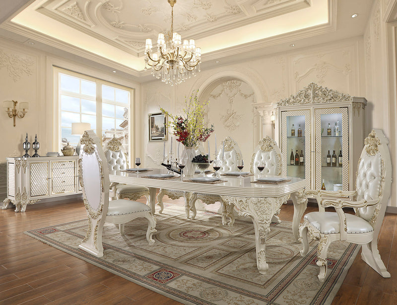 9 PC Dining Table Set in White Gloss & Gold Finish w Leather Seat 8091-9PC-DN