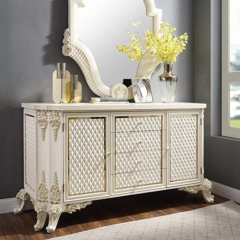 Dresser in White Gloss & Gold Brush Finish D8091 European Traditional Victorian