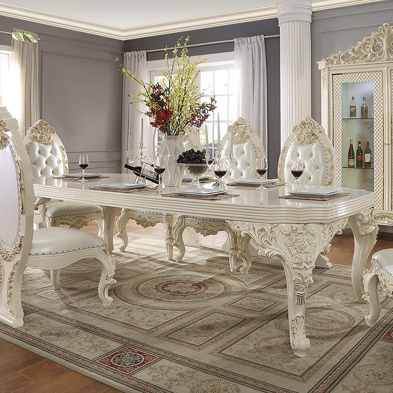 Rectangle Dining Table in White Gloss & Gold Brush Finish DT8091 European