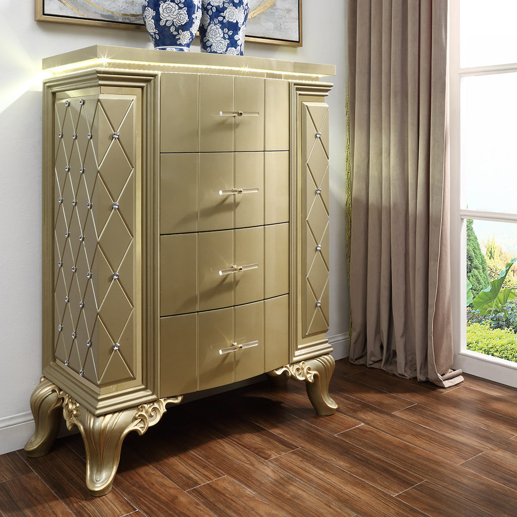 Chest in Satin Gold Finish CHE8092 European Traditional Victorian