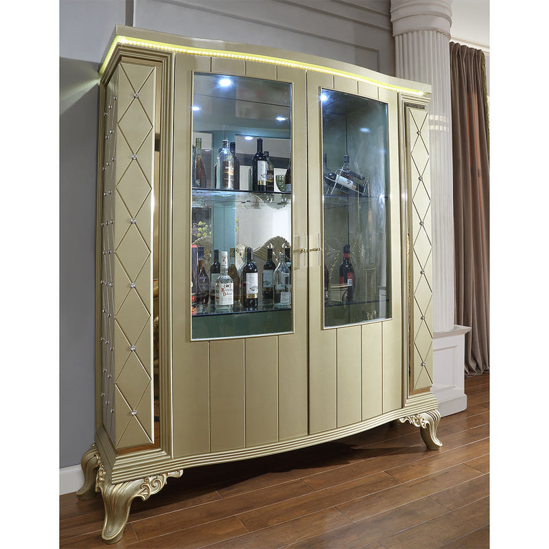 China Cabinet in Satin Gold Finish CH8092 European