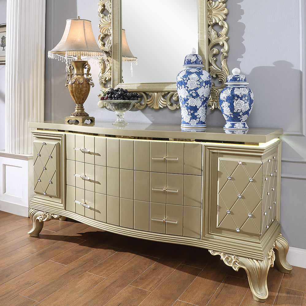 Dresser in Satin Gold Finish D8092 European Traditional Victorian