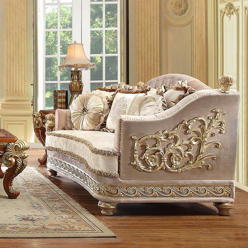 Fabric Loveseat in Metallic Bright Gold Finish L814 European Traditional Victorian