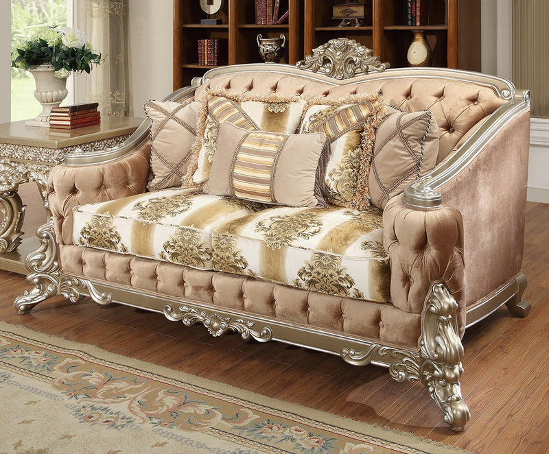 Fabric Loveseat in Belle Silver Finish L820 European Traditional Victorian