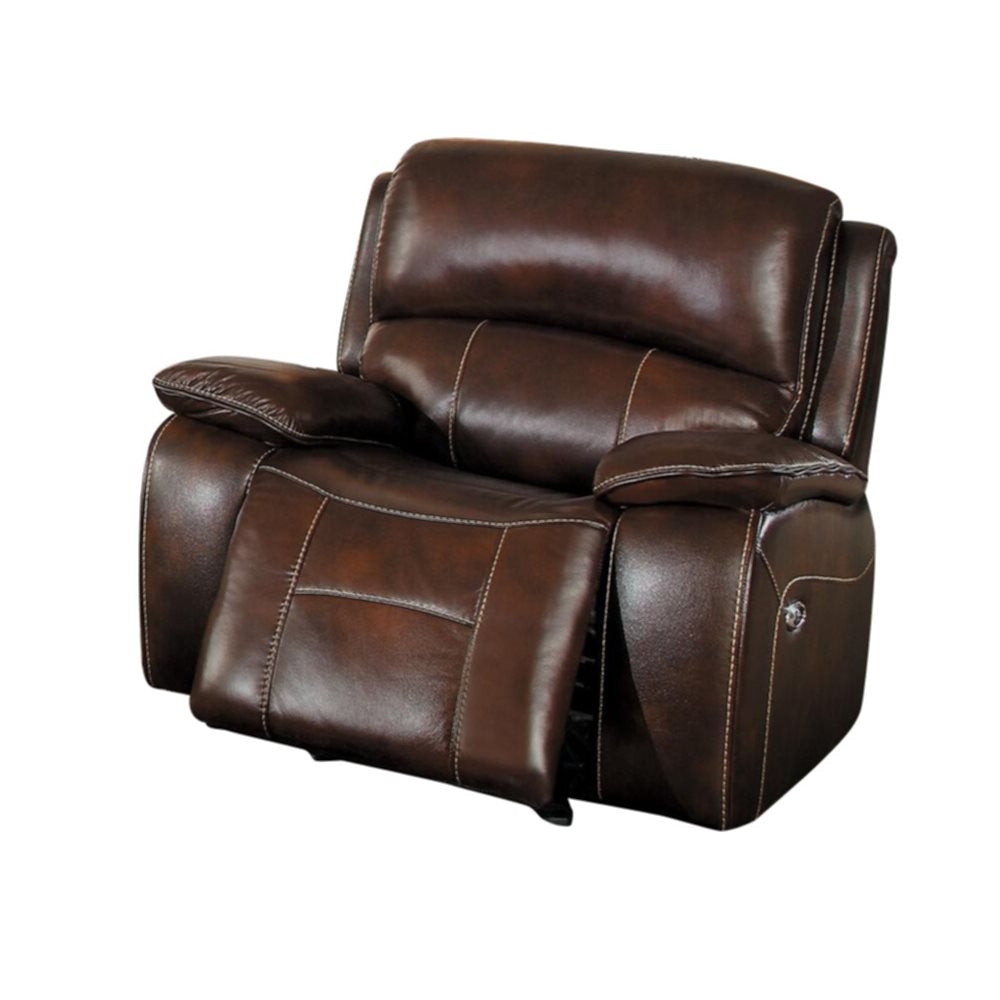 Homelegance Mahala Power Glider Recliner Chair in Brown Top Grain Leather