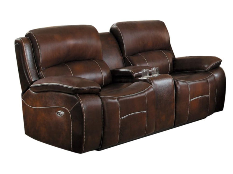 Homelegance Mahala Power Double Reclining Love Seat in Brown Top Grain Leather