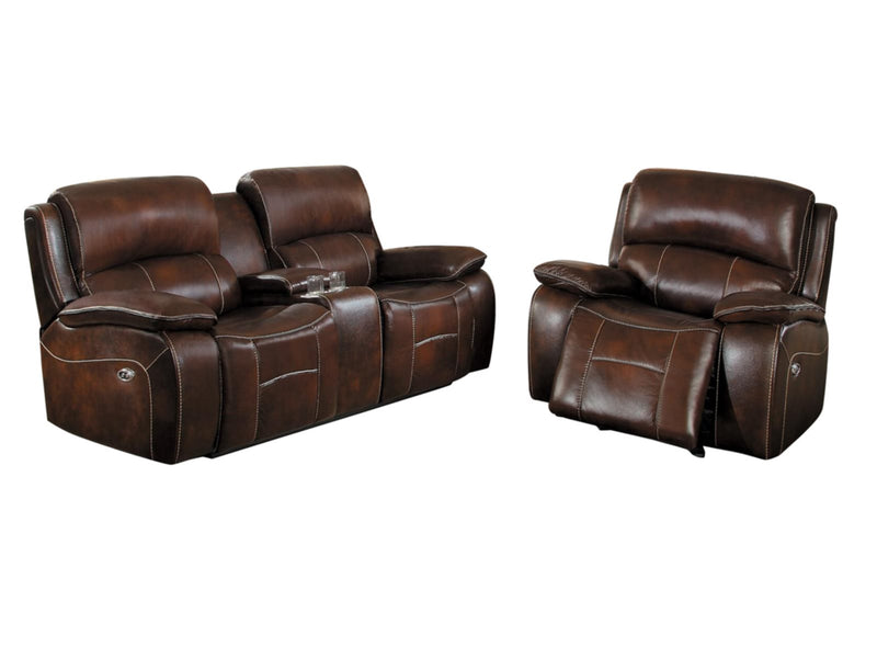 Homelegance Mahala 2PC Power Double Reclining Love Seat & Glider Recliner Chair in Brown Top Grain Leather