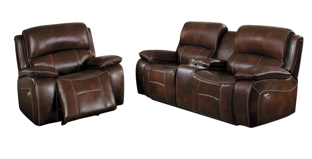 Homelegance Mahala 2PC Double Reclining Love Seat & Glider Recliner Chair in Brown Top Grain Leather