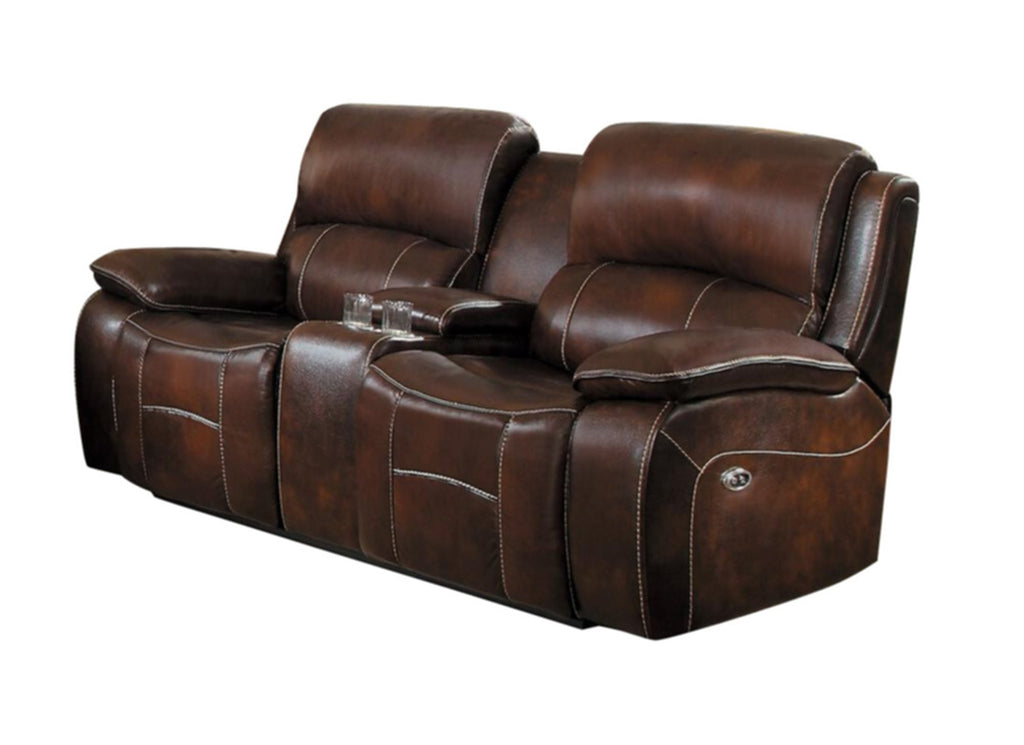 Homelegance Mahala Double Reclining Love Seat in Brown Top Grain Leather