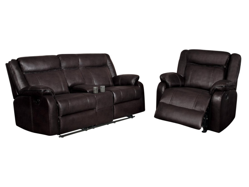 Homelegance Jude 2PC Double Glider Reclining Love Seat with Center Console & Glider Reclining Chair in Airehyde Leather - Dark Brown