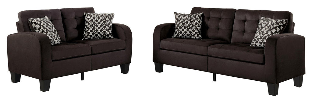 Homelegance Sinclair Park 2PC Sofa & Love Seat in Chocolate Fabric
