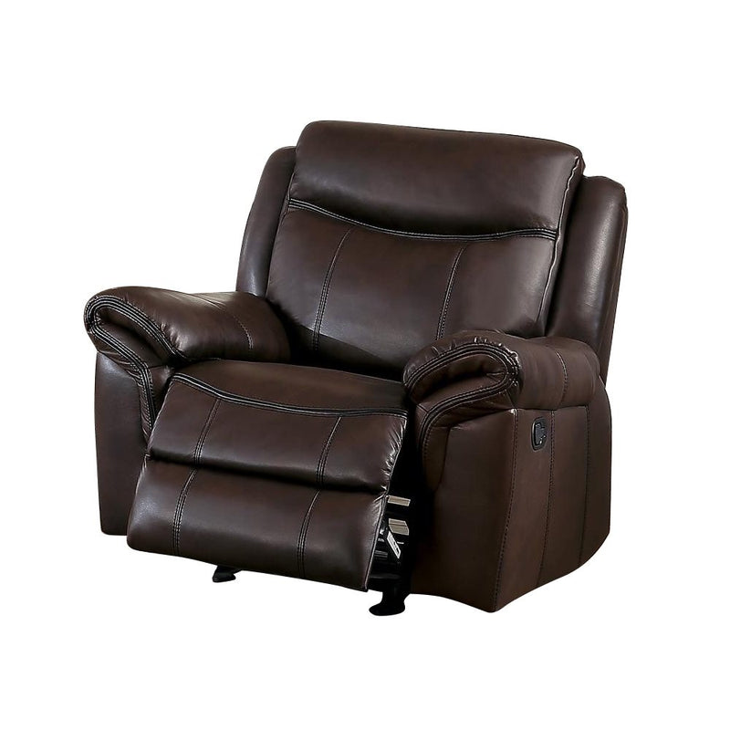 Homelegance Aram Glider Reclining Chair in Airehyde Leather - Dark Brown