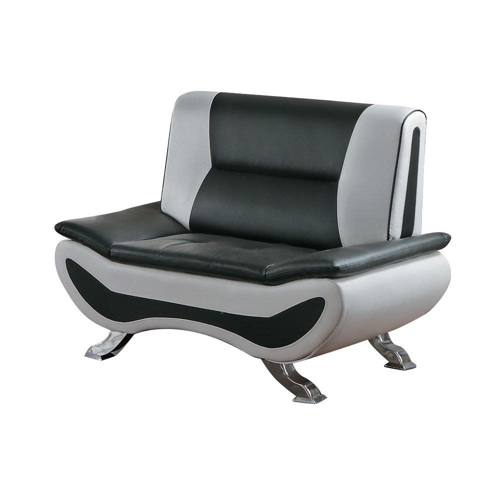 Homelegance Veloce Park Chair in Black & White Leather